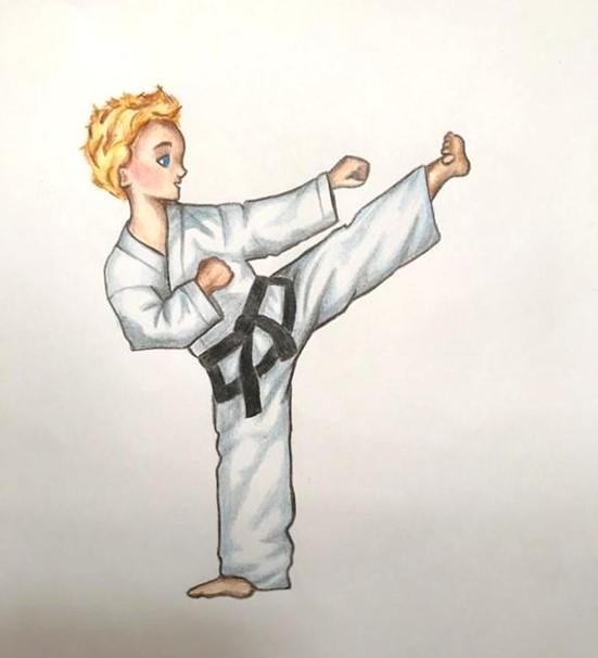 Grafik-Bild: Junge macht Taekwon-Do Kick
