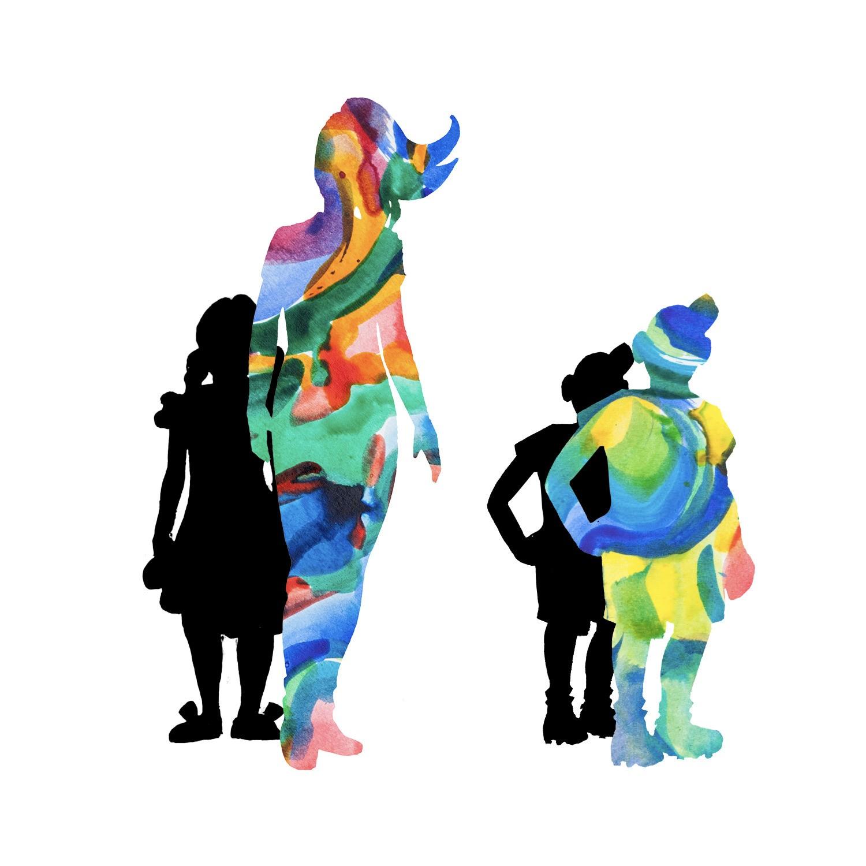 Grafik: Menschliche Silhouetten in bunten Farben